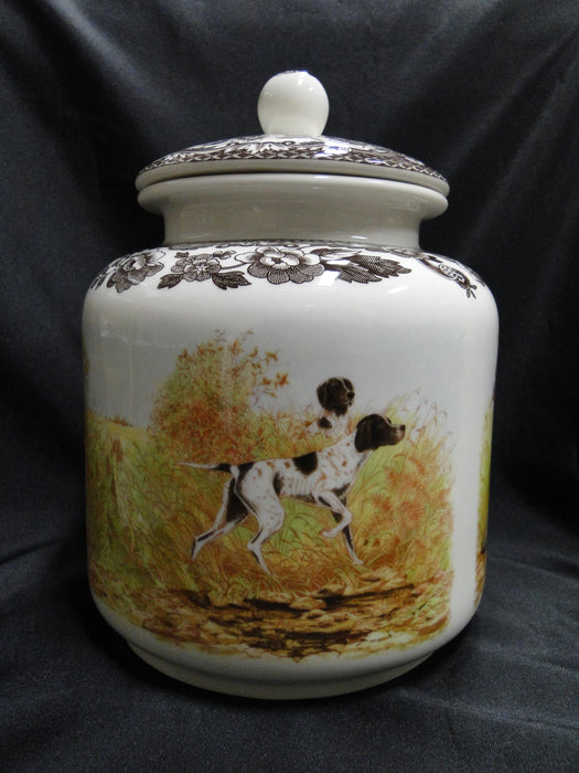 "Spode Woodland Hunting Dogs: NEW Dog Treat Canister 8 3/4"" x 6 1/2"", Box"