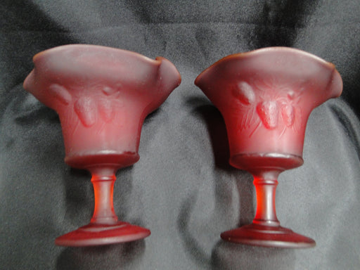 Wright Glass, LG Strawberry and Currant Ruby Satin: Pair (2) of Compotes, 6""