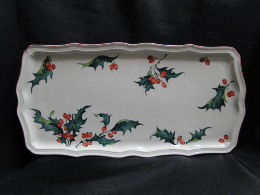 "Villeroy & Boch Holly, Green, Red Berries: Sandwich / Serving Tray, 13 3/4"" x 7"""