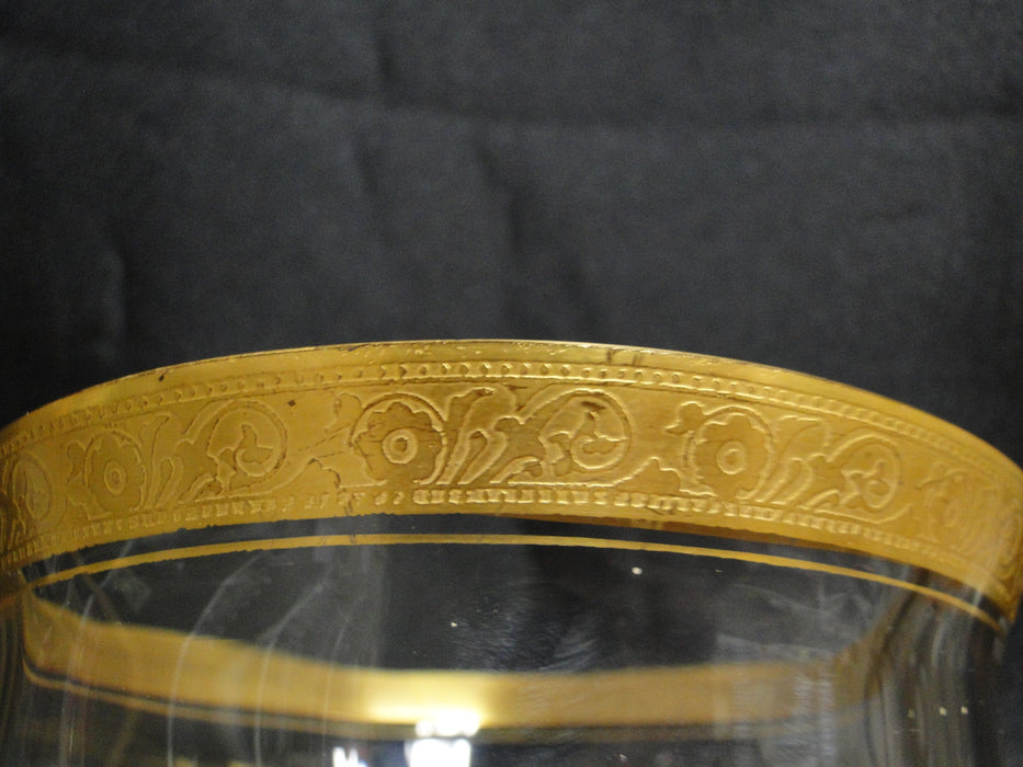 "Clear w/ Encrusted Gold Band of Flowers & 2 Rows Dots: Compote, 5 3/8"" -- CR#076"