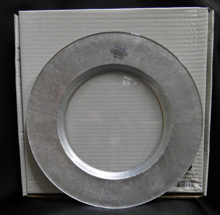 "Badash Antique Silver Stripes: NEW Silver Round Glass Charger, 13"", Box, D244S"