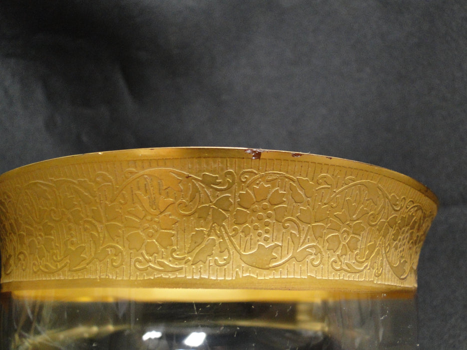 "Clear w/ Encrusted Gold Band of Grapes & Flowers: Compote, 5 3/8"" -- CR#012"