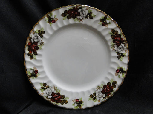 "Aynsley, H 371 Luncheon Plate 9 3/8"" AS IS, Crazing, Red & White Roses, Gold Trim"