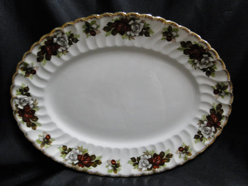 "Aynsley, H. 371 Oval Platter 13 1/2"", Red & White Roses, Gold Trim"