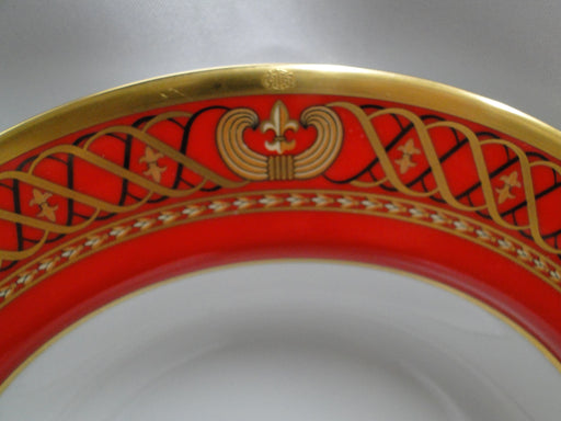 "Christian Dior Ambassadior Rim Soup Bowl, 9 1/8"", Red Rim with Black & Gold"