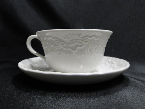 "Ralph Lauren Claire, White with Ribbons: Cup & Saucer Set (s), 2 1/4"" Tall"