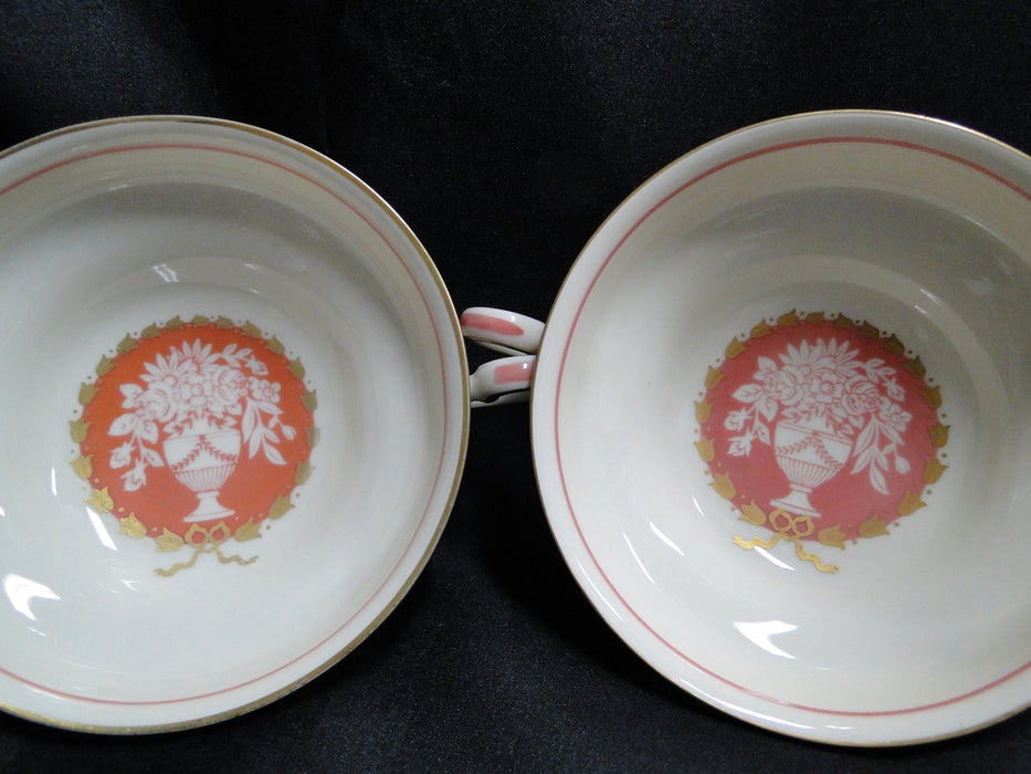 Rosenthal R768, Peach/Rose Band & Center, Floral Urn: Cream Soup & Saucer Set