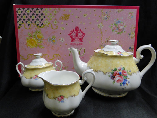 Royal Albert 100 Years, Bouquet: NEW Teapot, Creamer, & Sugar, Box