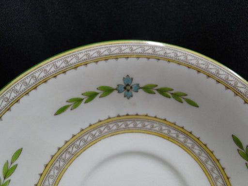 "Minton Kent, Blue Flowers, Green Laurel: 6 1/8"" Cream Soup Saucer Only, As Is"