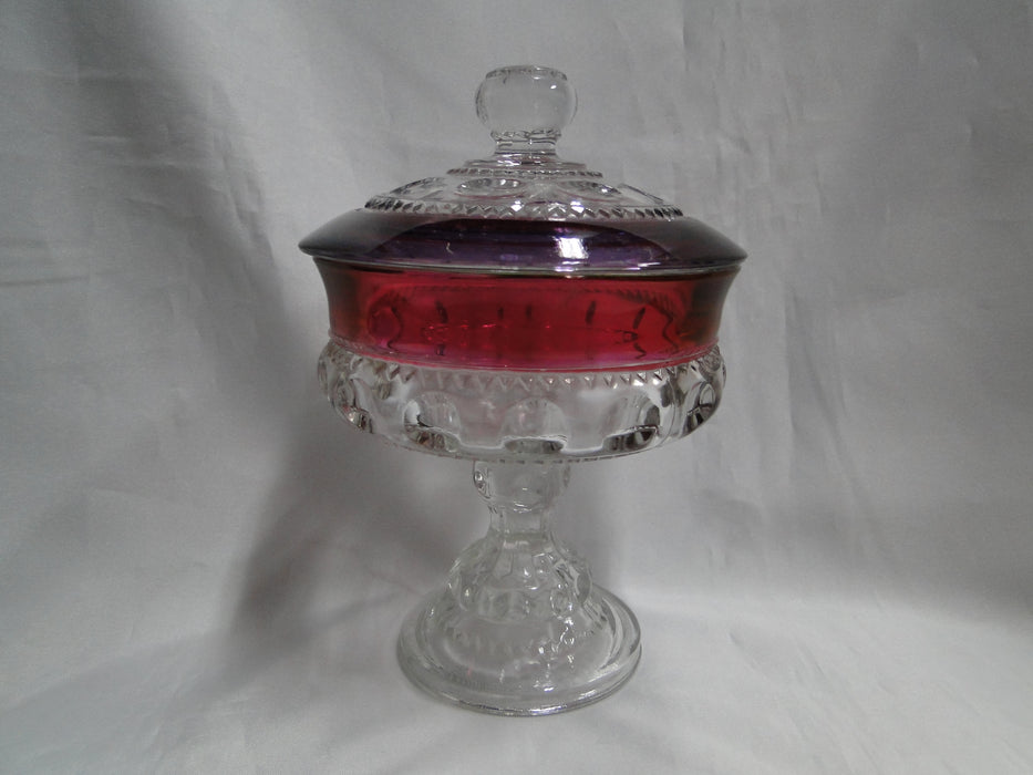 Tiffin King's Crown / Antique Thumbprint Amethyst, 4016: Compote Lid, 5 1/4""