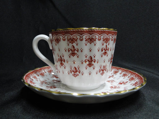 Spode Fleur de Lys Red, Y.7481, Gold Trim, Bone: Flat Cup & Saucer Set, 2 1/2""