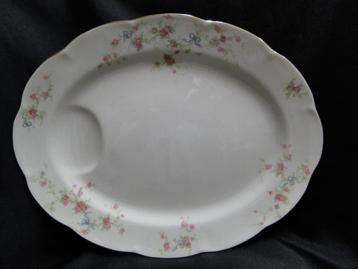 "Haviland Rosanne Oval Platter 13 7/8"" (New York), Pink Roses, Blue Ribbon, Gold"