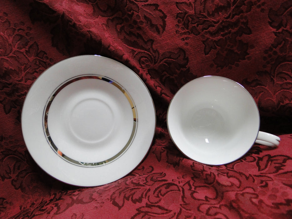 Oxford (Lenox) Lexington, Platinum Rings on White: Cup & Saucer Set (s)