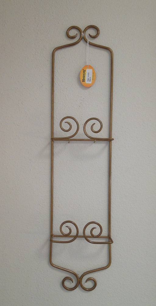 "Bard's Vertical Gold Metal Display Rack for 2 9.75"" - 7.75"" Plates 26.75"", As Is"