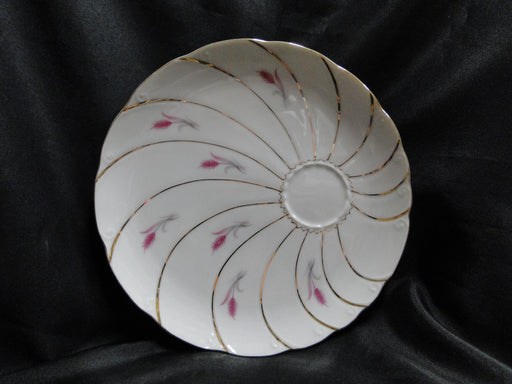 Yamaka Yam14, Pink Wheat, Gold Swirl Lines: Snack Set Plate Only, No Cup