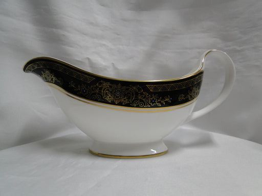 Royal Doulton Albany H5041, Black Rim: Gravy Boat & Separate Underplate