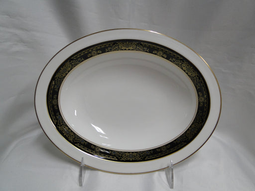 "Royal Doulton Albany H5041, Black Rim: Oval Serving Bowl, 10 3/4"", As Is"