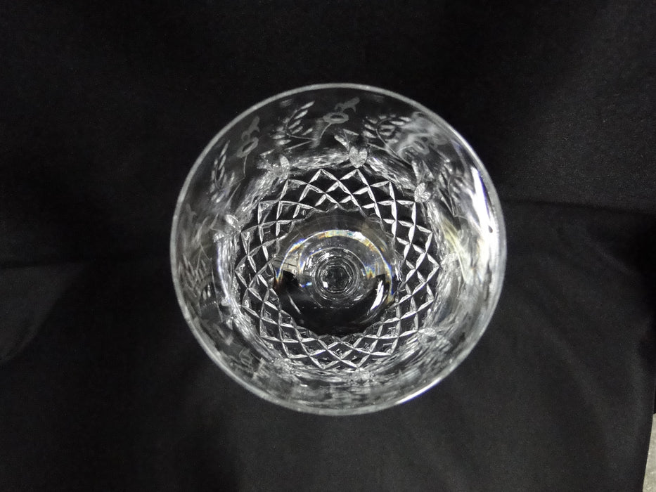 "Rogaska Gallia, Gray & Polished  Floral Design: Water or Wine Goblet 9 1/4"" Tall"
