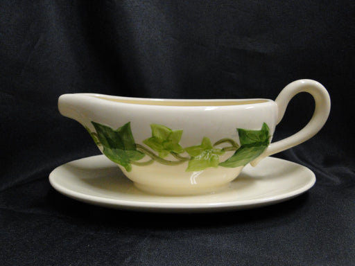 Franciscan Ivy (USA), Green: Gravy Boat & Attached Underplate, Crack, As Is
