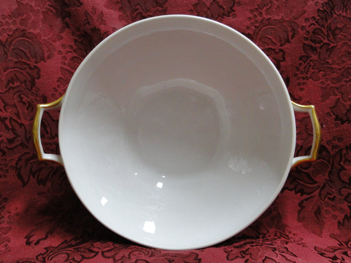 Raynaud RYD2: Tan Rim, Floral Center, Rose Trim: Round Serving Bowl w/ Lid