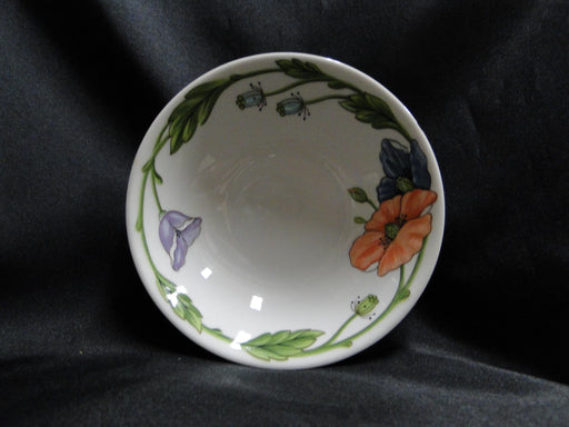 "Villeroy & Boch Amapola, Blue & Orange Flowers: Soup / Cereal Bowl 6 1/8"", As Is"