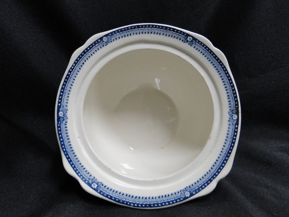 Royal Staffordshire Tonquin Blue, Scene: Sugar Bowl & Lid, Crazing, As Is