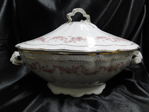 Zeh, Scherzer & Co 508, Pink Rose Garland: Oval Tureen & Lid, 13 1/2""