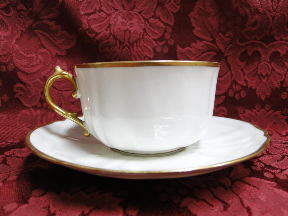 Redon, M (PL Limoges), White w/ Panels, Thick Gold Trim: Cup & Saucer Set (s)