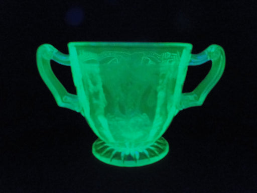 Anchor Hocking Cameo Green, Ballerina, Vaseline: Open Sugar Bowl, 3""