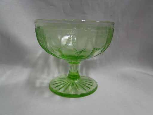 "Anchor Hocking Cameo Green, Ballerina, Vaseline: Low Sherbet (s), 3 1/8"" Tall"