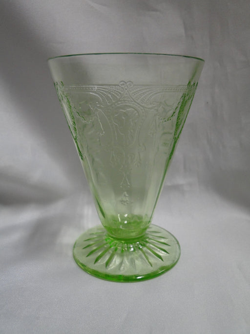 "Anchor Hocking Cameo Green, Ballerina, Vaseline: Footed Tumbler, 4 3/4"", As Is"