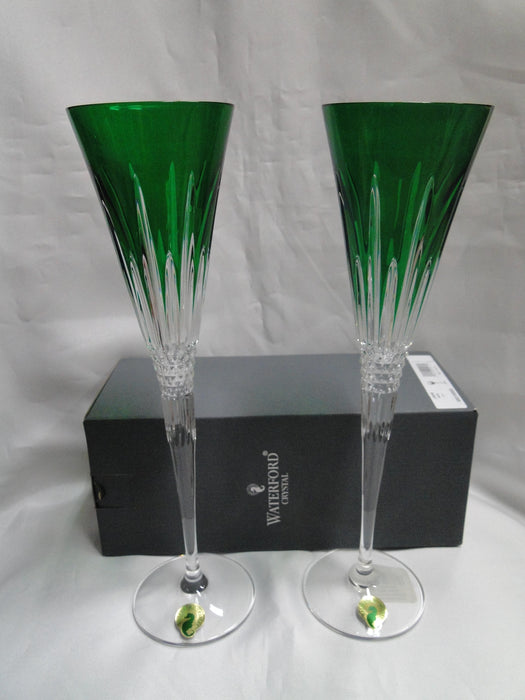 "Waterford Crystal Lismore Diamond Emerald: NEW Toasting Flutes, 11"", 6.1 oz, Box, FREE SHIP, FREE WRAP"