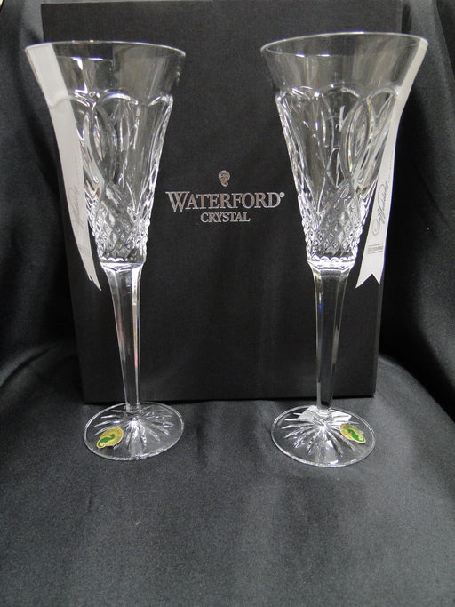 "Waterford Crystal Wedding: NEW Pair Toasting Flutes, 10 1/4"", Box, FREE SHIP, FREE WRAP"
