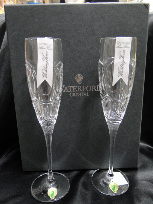 "Waterford Crystal Love: NEW Pair Wedding Vows Toasting Flutes, 10 5/8"", Box, FREE SHIP, FREE WRAP"