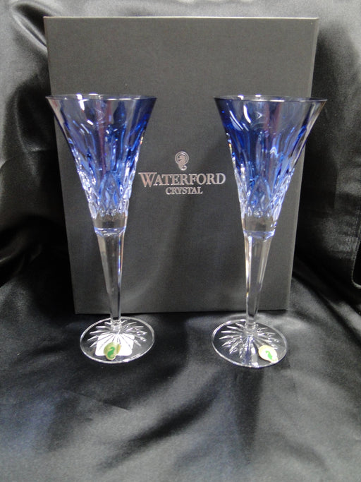 "Waterford Crystal Lismore Sapphire: NEW Pair Toasting Flutes, 9 1/4"", Box, FREE SHIP, FREE WRAP"
