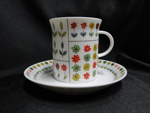 "Rosenthal Piemonte, Mid-Century Florals: Cup & Saucer Set, 3 1/8"" Tall, As Is"