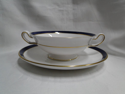 Spode Consul Cobalt, Blue Band & Gold on White: Cream Soup & Saucer Set, Flaw