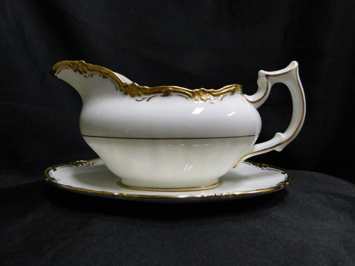 Royal Cauldon Eden, Thick Gold Trim, Scalloped: Gravy Boat & Attached Underplate