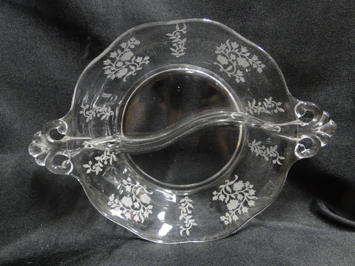 "Fostoria Rambler: 2 Part Crystal Relish Dish, Etched Flowers, 8 1/8"" with Handles"