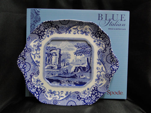 "Spode Italian, Blue Scene: NEW Square Cake Plate / Bread Tray (s), 11 1/4"", Box"