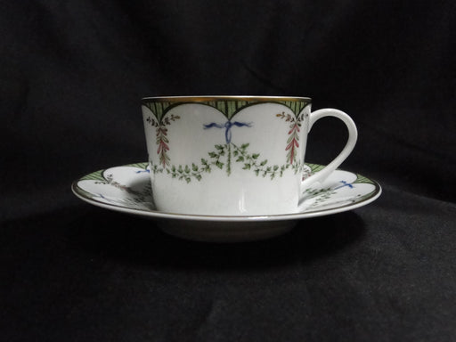 Raynaud Ceralene Festivites, Green Garland: Cup & Saucer Set (s), 2 1/4""