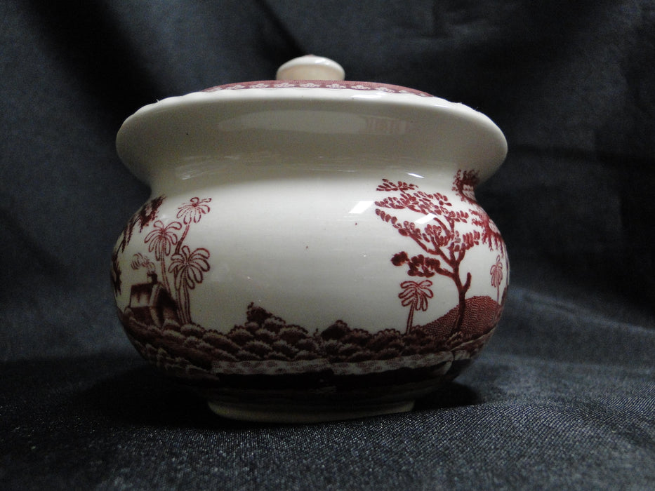 "Spode Pink Tower, Pink Floral with Scene: Sugar Bowl & Lid, 3 5/8"", As Is"