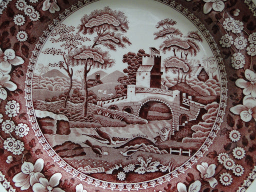 Spode Pink Tower, Pink Floral with Scene: Dinner Plate (s), 10 3/4""