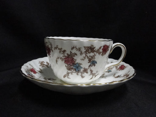 Minton Ancestral, Red & Blue Flowers: Cup and Saucer Set (s), 2 1/4""