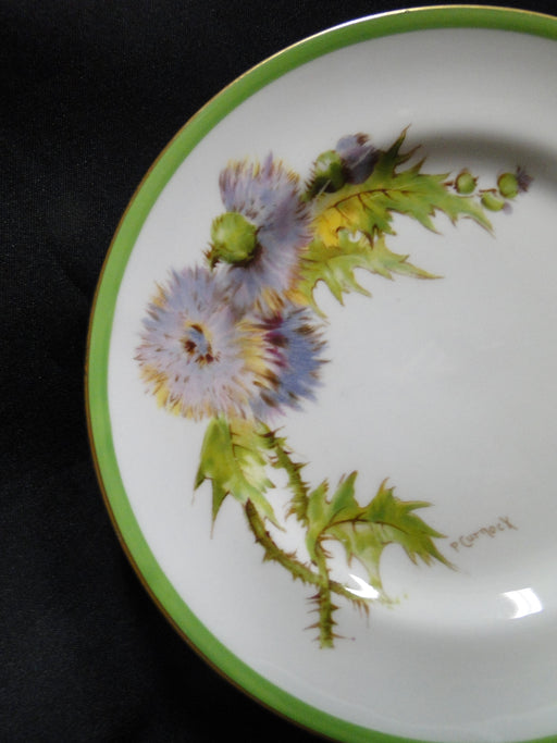 "Royal Doulton Glamis Thistle, Purple: Bread Plate, 6 1/8"", Nick on Gold"
