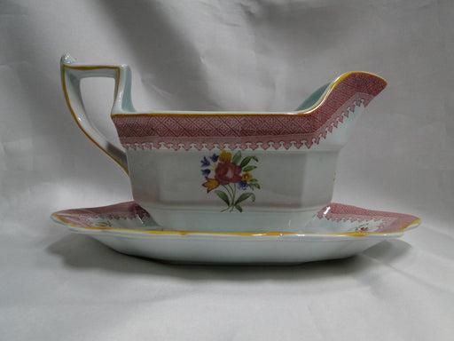 Adams Lowestoft, Celadon, Pink Border: Gravy Boat w/ Underplate, As Is