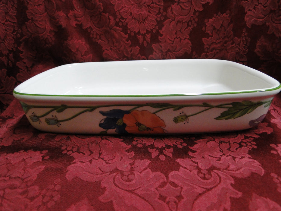 Villeroy & Boch Amapola, Blue & Orange Flowers: Rectangular Lasagna Dish, 11 1/2""