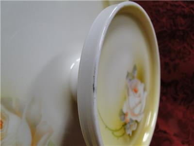 Reinhold Schlegelmilch Germany, White & Peach Roses: 2 Tier Serving Tray