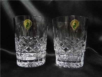 "Waterford Crystal Lismore: NEW Pair Double Old Fashioneds, 4 3/8"", 12 oz, Box, FREE SHIP, FREE WRAP"