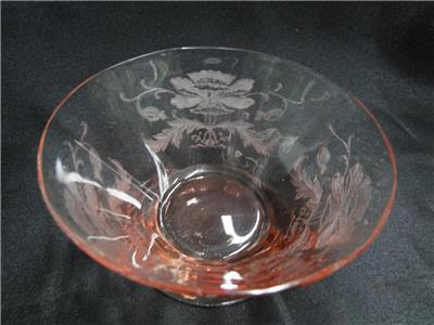Tiffin Flanders Pink, All Pink, Etched: Finger Bowl & Underplate Set, As Is